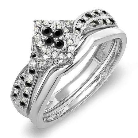 0.33 Carat (ctw) Sterling Silver Round Black & White Diamond Ladies Marquise Shape Bridal Promise Engagement Ring Set With Matching Band 1/3 CT