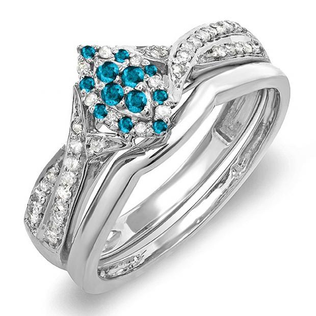 0.33 Carat (ctw) 14K White Gold Round Blue & White Diamond Ladies Marquise Shape Bridal Promise Engagement Ring Set With Matching Band 1/3 CT