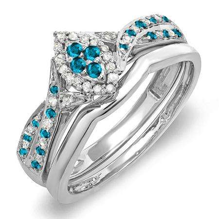 0.33 Carat (ctw) 10K White Gold Round Blue & White Diamond Ladies Marquise Shape Bridal Promise Engagement Ring Set With Matching Band 1/3 CT