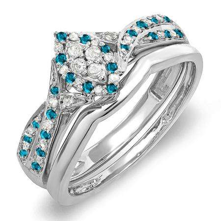0.33 Carat (ctw) 14K White Gold Round Blue & White Diamond Ladies Marquise Shape Bridal Promise Engagement Ring Set With Matching Band 1/3 CT