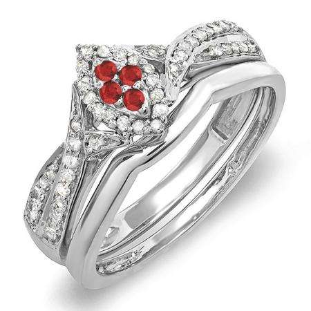0.33 Carat (ctw) Sterling Silver Round Ruby & White Diamond Ladies Marquise Shape Bridal Promise Engagement Ring Set With Matching Band 1/3 CT