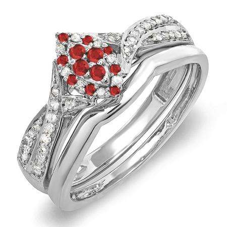 0.33 Carat (ctw) 14K White Gold Round Ruby & White Diamond Ladies Marquise Shape Bridal Promise Engagement Ring Set With Matching Band 1/3 CT