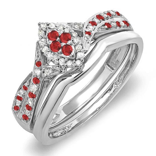 0.33 Carat (ctw) 14K White Gold Round Ruby & White Diamond Ladies Marquise Shape Bridal Promise Engagement Ring Set With Matching Band 1/3 CT