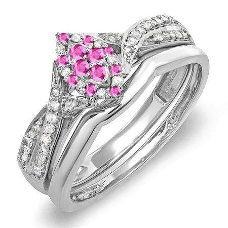 0.33 Carat (ctw) 10K White Gold Round Pink Sapphire & White Diamond Ladies Marquise Shape Bridal Promise Engagement Ring Set With Matching Band 1/3 CT