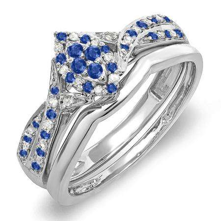 0.33 Carat (ctw) 14K White Gold Round Blue Sapphire & White Diamond Ladies Marquise Shape Bridal Promise Engagement Ring Set With Matching Band 1/3 CT