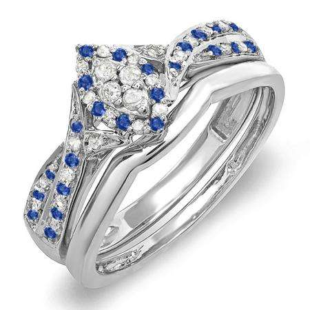 0.33 Carat (ctw) 10K White Gold Round Blue Sapphire & White Diamond Ladies Marquise Shape Bridal Promise Engagement Ring Set With Matching Band 1/3 CT