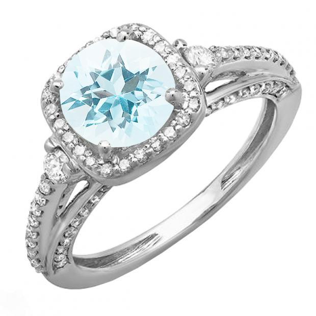 2.10 Carat (ctw) 10k White Gold Round Aquamarine & White Diamond Ladies Engagement Halo Bridal Ring