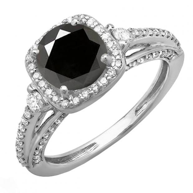 2.10 Carat (ctw) 10k White Gold Round Black & White Diamond Ladies Engagement Halo Bridal Ring