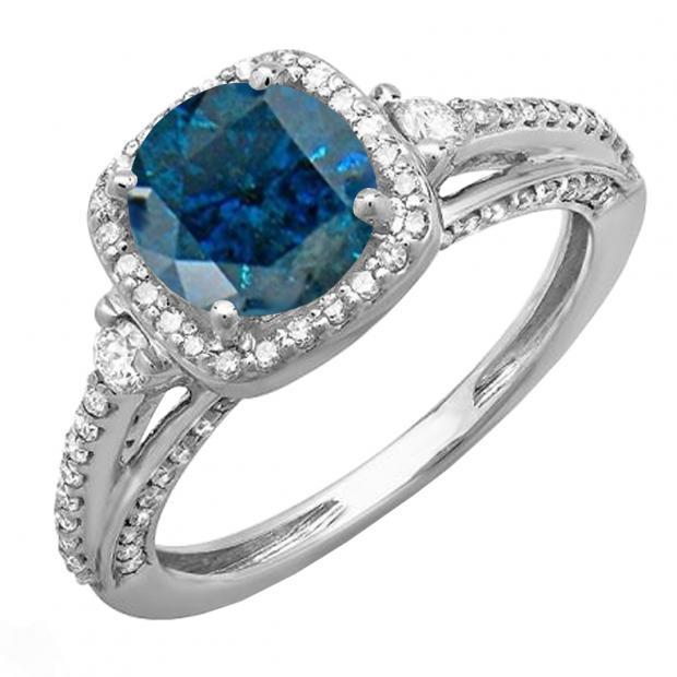 2.10 Carat (ctw) 14k White Gold Round Blue & White Diamond Ladies Engagement Halo Bridal Ring