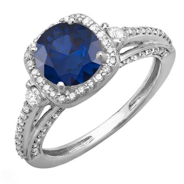 2.10 Carat (ctw) 10k White Gold Round Blue Sapphire & White Diamond Ladies Engagement Halo Bridal Ring