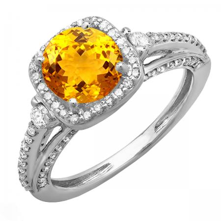 2.10 Carat (ctw) 14k White Gold Round Yellow Citrine & White Diamond Ladies Engagement Halo Bridal Ring