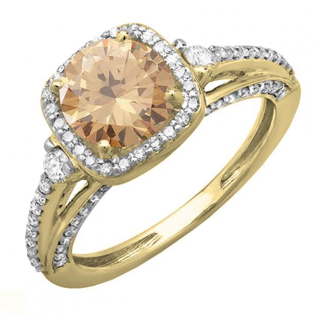 2.10 Carat (ctw) 18k White Gold Round Champagne & White Diamond Ladies Engagement Halo Bridal Ring
