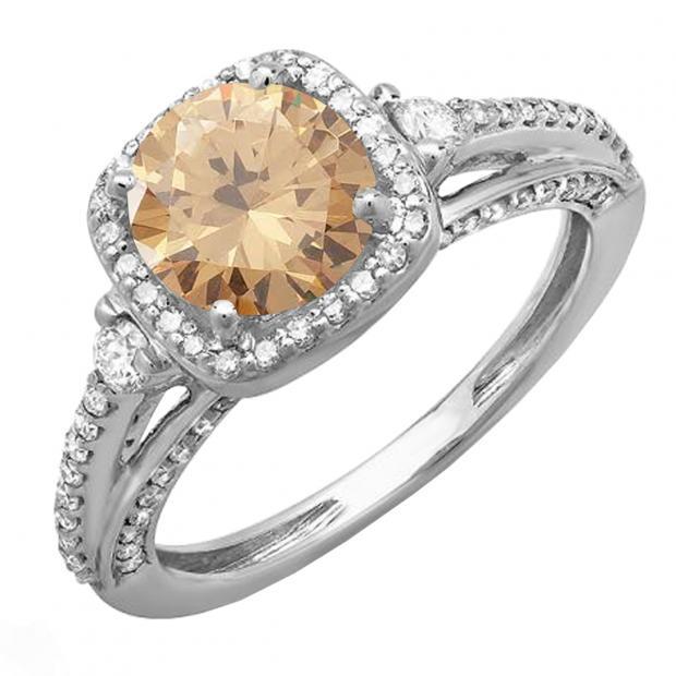 2.10 Carat (ctw) 14k White Gold Round Champagne & White Diamond Ladies Engagement Halo Bridal Ring