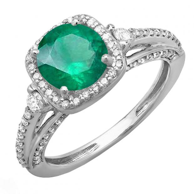 2.10 Carat (ctw) 18k White Gold Round Green Emerald & White Diamond Ladies Engagement Halo Bridal Ring