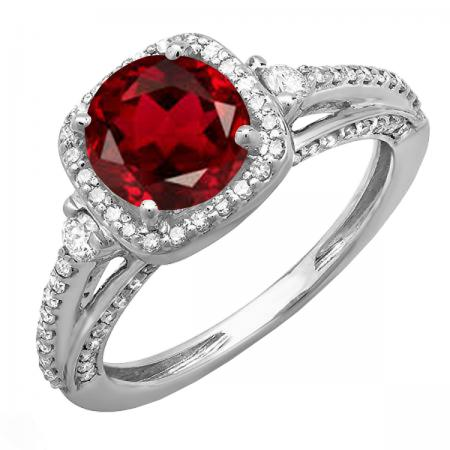 2.10 Carat (ctw) 10k White Gold Round Red Garnet & White Diamond Ladies Engagement Halo Bridal Ring