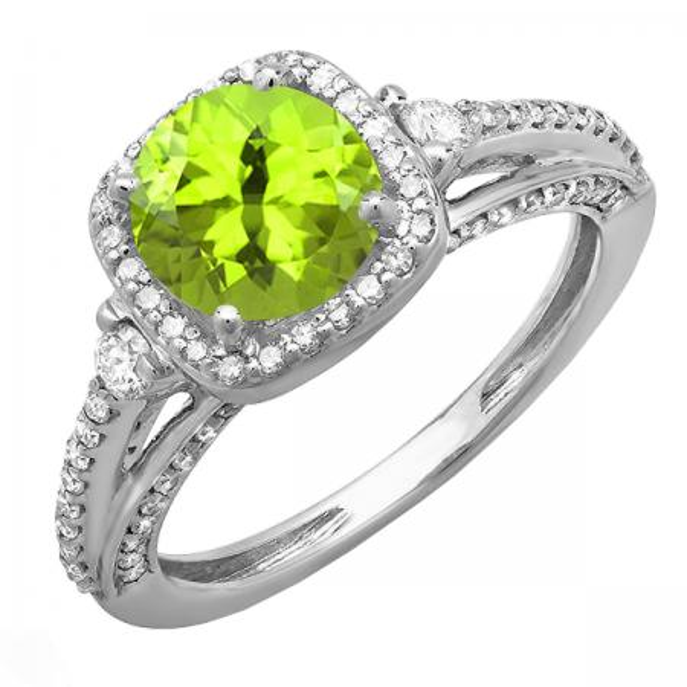 2.10 Carat (ctw) 10k White Gold Round Green Peridot & White Diamond Ladies Engagement Halo Bridal Ring