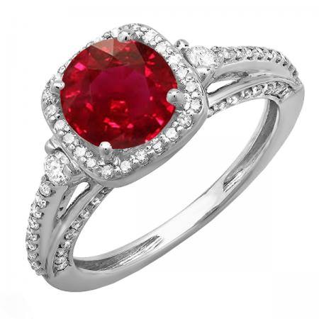 2.10 Carat (ctw) 18k White Gold Round Red Ruby & White Diamond Ladies Engagement Halo Bridal Ring