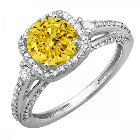 2.10 Carat (ctw) 14k White Gold Round Yellow & White Diamond Ladies Engagement Halo Bridal Ring