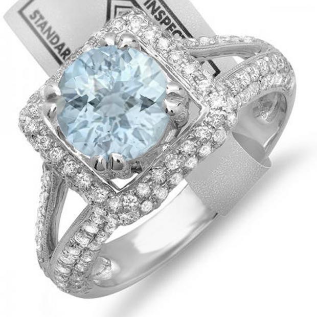 2.50 Carat (ctw) 10K White Gold Round Aquamarine & White Diamond Halo Style Engagement Bridal Ring