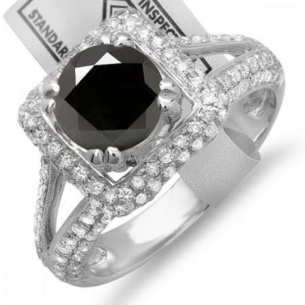 2.50 Carat (ctw) 10K White Gold Round Black & White Diamond Halo Style Engagement Bridal Ring