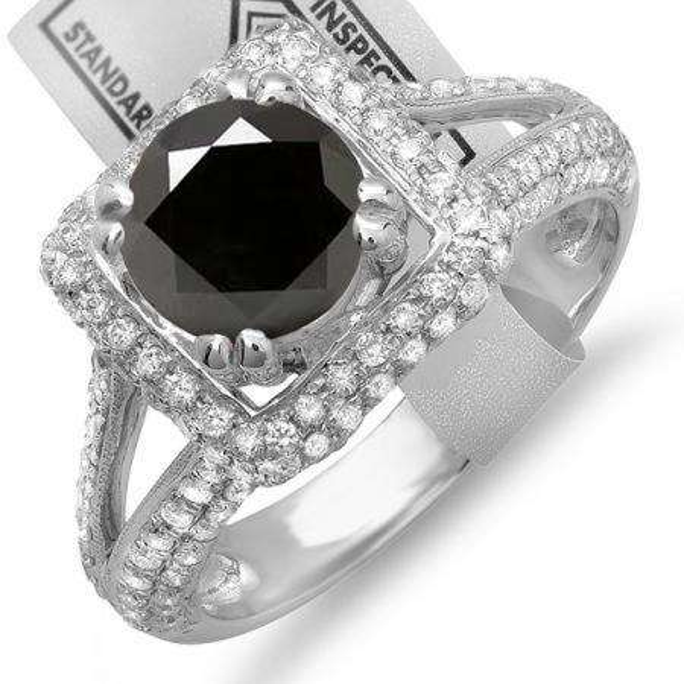 2.50 Carat (ctw) 18K White Gold Round Black & White Diamond Halo Style Engagement Bridal Ring