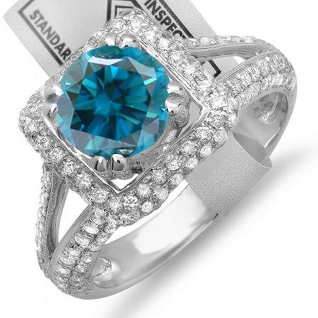 2.50 Carat (ctw) 14K White Gold Round Blue & White Diamond Halo Style Engagement Bridal Ring