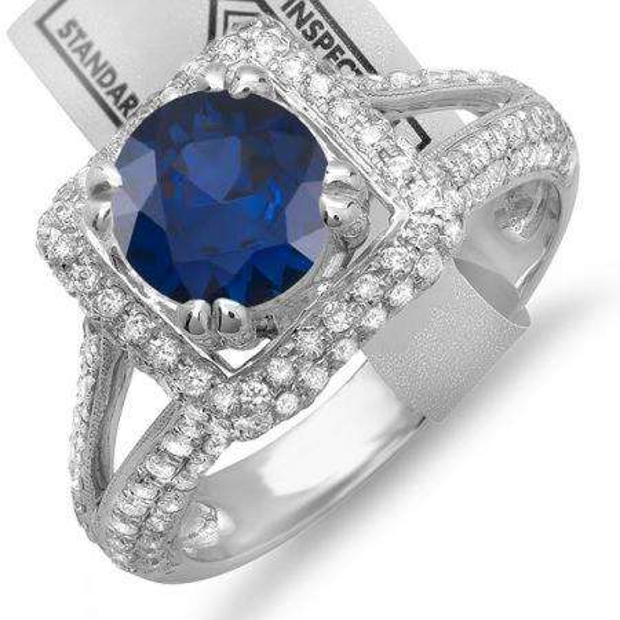 2.50 Carat (ctw) 10K White Gold Round Blue Sapphire & White Diamond Halo Style Engagement Bridal Ring