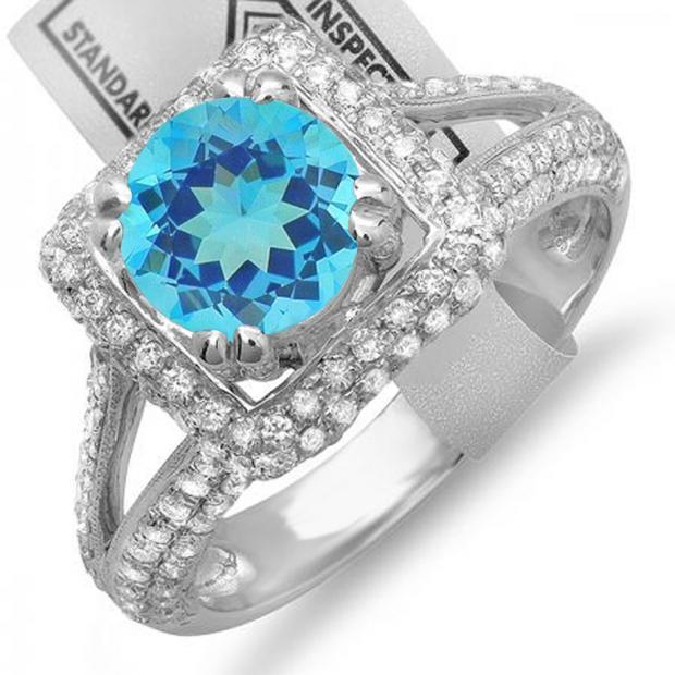 2.50 Carat (ctw) 14K White Gold Round Blue Topaz & White Diamond Halo Style Engagement Bridal Ring
