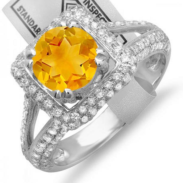 2.50 Carat (ctw) 10K White Gold Round Yellow Citrine & White Diamond Halo Style Engagement Bridal Ring