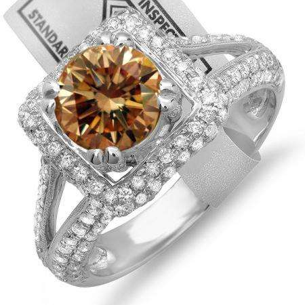 2.50 Carat (ctw) 14K White Gold Round Champagne & White Diamond Halo Style Engagement Bridal Ring