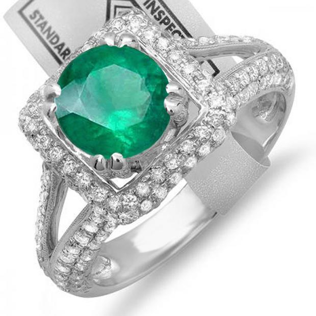 2.50 Carat (ctw) 14K White Gold Round Green Emerald & White Diamond Halo Style Engagement Bridal Ring