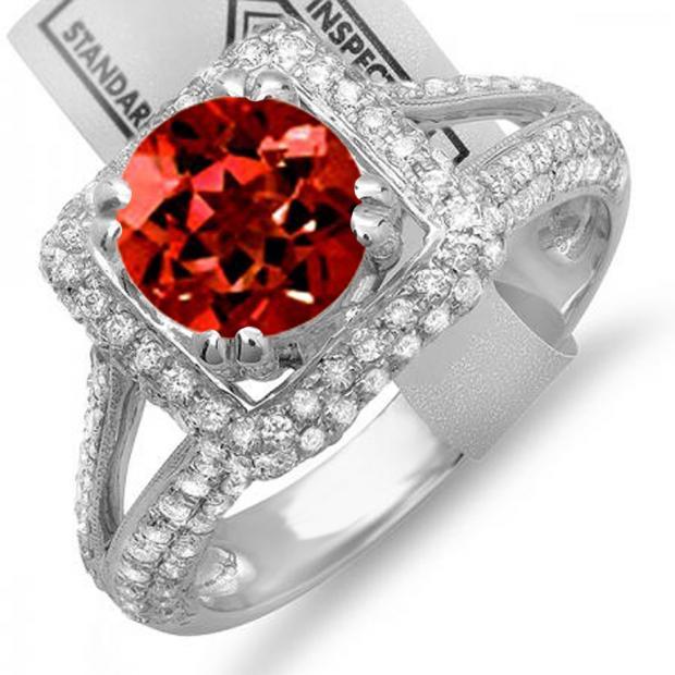2.50 Carat (ctw) 14K White Gold Round Red Garnet & White Diamond Halo Style Engagement Bridal Ring