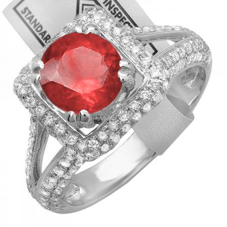 2.50 Carat (ctw) 18K White Gold Round Red Ruby & White Diamond Halo Style Engagement Bridal Ring