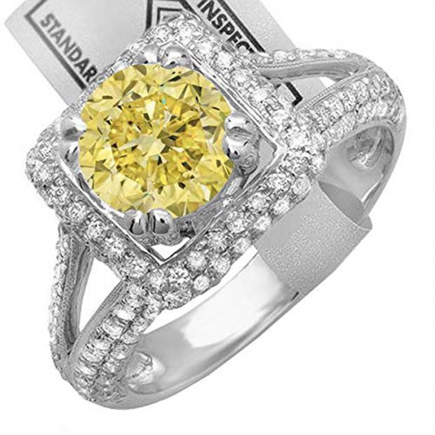 2.50 Carat (ctw) 18K White Gold Round Yellow & White Diamond Halo Style Engagement Bridal Ring