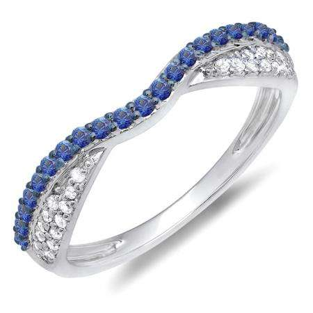 0.36 Carat (ctw) 10k White Gold Round Blue Sapphire & White Diamond Ladies Anniversary Wedding Band Stackable Ring 1/3 CT