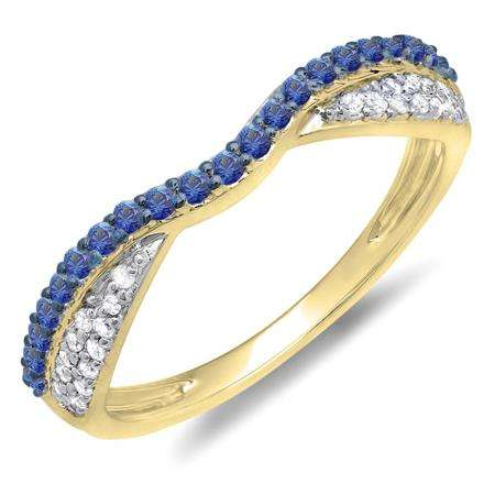 0.36 Carat (ctw) 10k Yellow Gold Round Blue Sapphire & White Diamond Ladies Anniversary Wedding Band Stackable Ring 1/3 CT