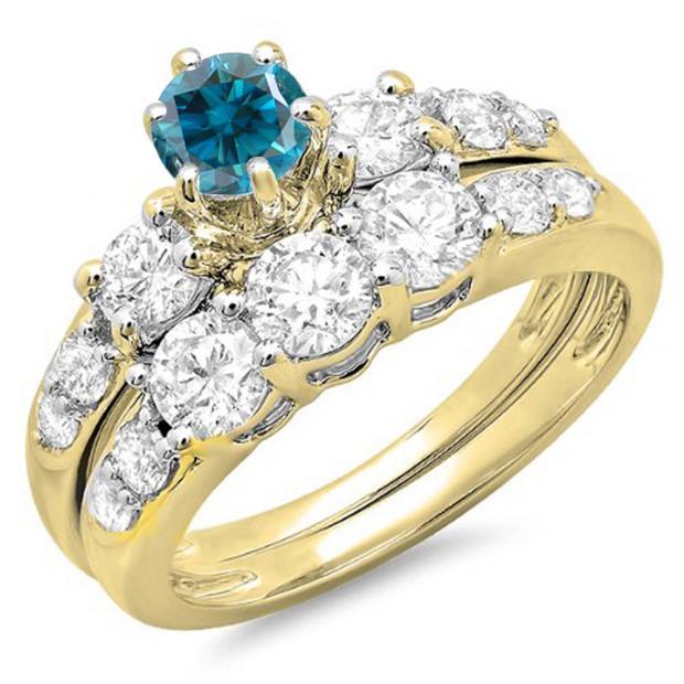 2.00 Carat (ctw) 10k Yellow Gold Round Blue & White Diamond Ladies 3 Stone Bridal Engagement Ring Matching Band Set 2 CT