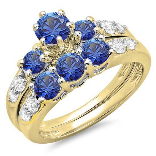 2.25 Carat (ctw) 18K Yellow Gold Round White & Blue Cubic Zirconia Ladies 3 Stone Bridal Engagement Ring Matching Band Set