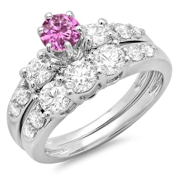 2.00 Carat (ctw) 10k White Gold Round Pink Sapphire & White Diamond Ladies 3 Stone Bridal Engagement Ring Matching Band Set 2 CT