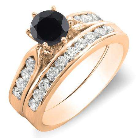 1.00 Carat (ctw) 14k Rose Gold Round Black & White Diamond Ladies Bridal Engagement Ring Set With Matching Band 1 CT