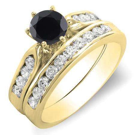 1.00 Carat (ctw) 18k Yellow Gold Round Black & White Diamond Ladies Bridal Engagement Ring Set With Matching Band 1 CT