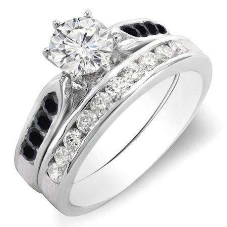 1.00 Carat (ctw) 14k White Gold Round Black & White Diamond Ladies Bridal Engagement Ring Set With Matching Band 1 CT