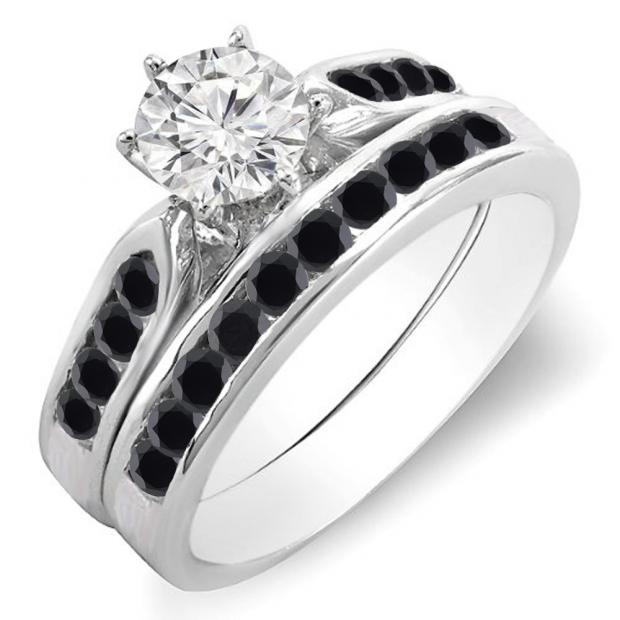 1.00 Carat (ctw) 10k White Gold Round Black & White Diamond Ladies Bridal Engagement Ring Set With Matching Band 1 CT
