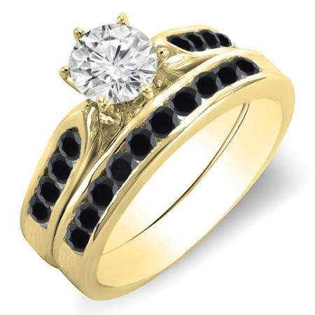 1.00 Carat (ctw) 10k Yellow Gold Round Black & White Diamond Ladies Bridal Engagement Ring Set With Matching Band 1 CT