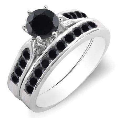 1.00 Carat (ctw) 18k White Gold Round Black Diamond Ladies Bridal Engagement Ring Set With Matching Band 1 CT