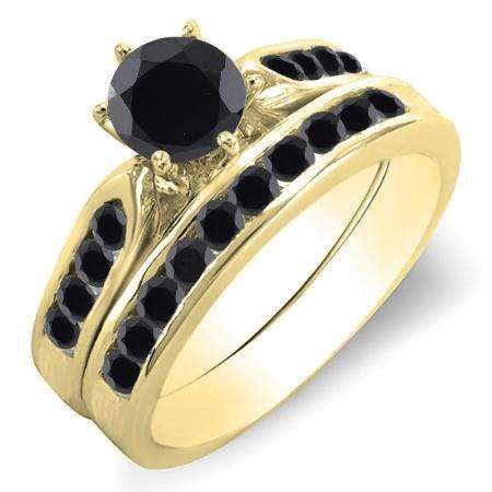 1.00 Carat (ctw) 18k Yellow Gold Round Black Diamond Ladies Bridal Engagement Ring Set With Matching Band 1 CT