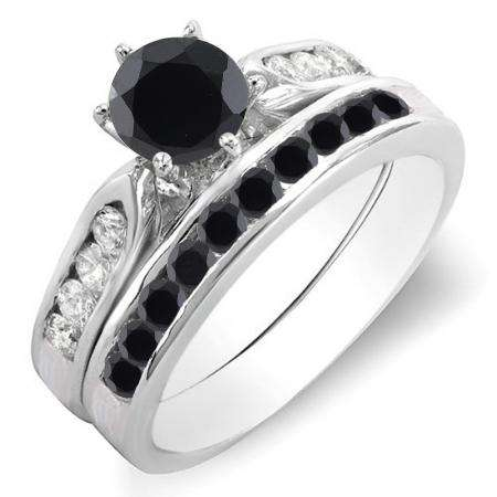 1.00 Carat (ctw) 10k White Gold Round Black & White Diamond Ladies Bridal Engagement Ring Set With Matching Band 1 CT