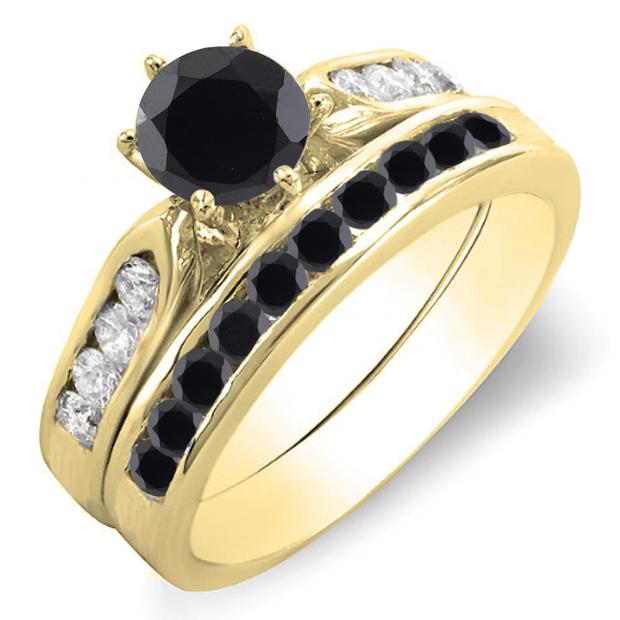 1.00 Carat (ctw) 14k Yellow Gold Round Black & White Diamond Ladies Bridal Engagement Ring Set With Matching Band 1 CT