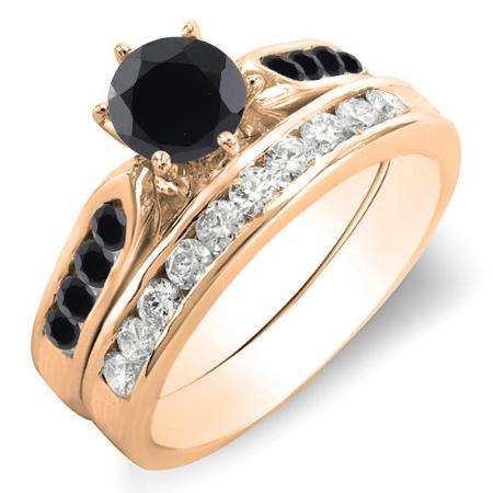 1.00 Carat (ctw) 18k Rose Gold Round Black & White Diamond Ladies Bridal Engagement Ring Set With Matching Band 1 CT