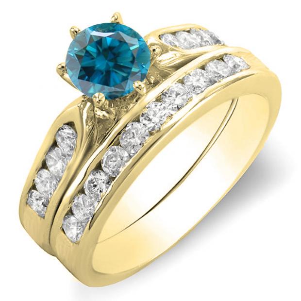 1.00 Carat (ctw) 14k Yellow Gold Round Blue & White Diamond Ladies Bridal Engagement Ring Set With Matching Band 1 CT